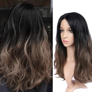 Natural Wavy Brown Ombre Synthetic Wig